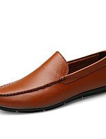 cheap -Men's Moccasin Nappa Leather Spring Loafers & Slip-Ons Black / Brown