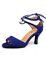Недорогие -Жен. Обувь для латины Замша На каблуках Тонкий высокий каблук Танцевальная обувь Красный / Синий