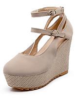 baratos -Mulheres Sapatos Couro Ecológico Verão Conforto Saltos Salto Plataforma Branco / Preto / Rosa claro