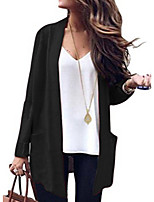 cheap -women's going out long sleeve loose long cardigan - solid colored v neck