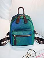 Недорогие -Жен. Мешки холст рюкзак Молнии Синий / Зеленый / Лиловый