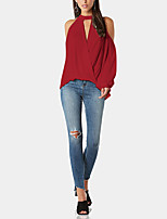 cheap -Women's Blouse - Solid Colored Ruffle / Criss-Cross