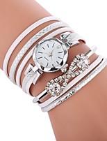 baratos -Mulheres Bracele Relógio Chinês Relógio Casual / imitação de diamante PU Banda Casual / Fashion Preta / Branco / Azul / SSUO CR2025