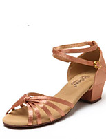 Недорогие -Девочки Обувь для латины Полиуретан На каблуках Кубинский каблук Танцевальная обувь Телесный