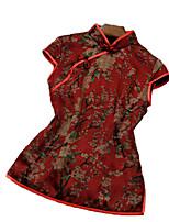Недорогие -Жен. Блуза Шинуазери (китайский стиль) Цветочный принт