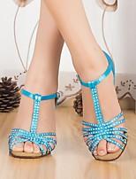 Недорогие -Жен. Обувь для латины Сатин На каблуках Толстая каблук Танцевальная обувь Синий