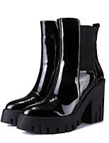 abordables -Femme Chaussures Cuir Nappa Automne hiver Confort / boîtes de Combat Bottes Talon Bottier Noir