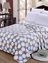 baratos -Velocino de Coral / Super Suave, Impressão Reactiva Geométrica Algodão / Poliéster cobertores