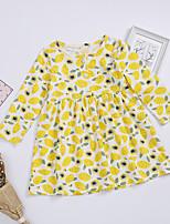 economico -Bambino / Bambino (1-4 anni) Da ragazza Giallo limone Frutta Manica lunga Vestito