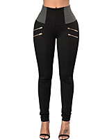 cheap -Women's Daily Basic Legging - Solid Colored / Color Block High Waist