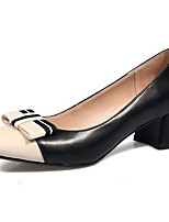cheap -Women's Shoes Nappa Leather Spring Comfort Heels Chunky Heel Black / Almond