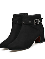 cheap -Women's Shoes Microfiber Fall Comfort / Basic Pump Boots Block Heel Buckle Black / Green