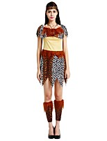 cheap -Primitive Costume Women's Halloween Carnival Masquerade Festival / Holiday Halloween Costumes Outfits Brown Solid Colored Polka Dot Halloween Halloween