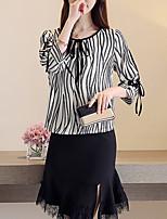 cheap -Women's Basic Blouse - Striped