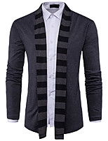 cheap -Men's Long Sleeve Cardigan - Solid Colored Round Neck