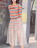 cheap -Women's Basic Set - Striped Skirt