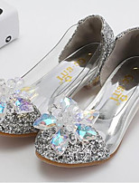 cheap -Girls' Shoes PU(Polyurethane) Spring & Summer Flower Girl Shoes Heels Crystal / Sequin for Kids Gold / Silver