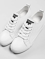 cheap -Women's Shoes Nappa Leather Summer Comfort Sneakers Flat Heel Round Toe White / Black