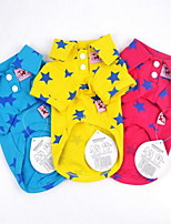 cheap -Dogs / Cats Shirt / T-Shirt Dog Clothes Stars Yellow / Red / Blue Poly / Cotton Blend Costume For Pets Male Leisure