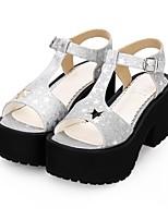 cheap -Lolita Shoes Gothic Lolita Dress Punk Wedge Heel Shoes Pattern 8 cm CM Black / Silver / Brown For PU(Polyurethane)