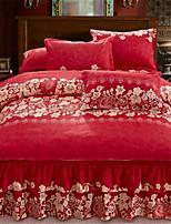 cheap -Duvet Cover Sets Chinese Red 100% Cotton Applique 3 Piece