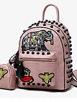 Недорогие -Жен. Мешки PU рюкзак Заклепки Белый / Черный / Розовый