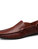 Недорогие -Муж. Наппа Leather / Кожа Весна лето Удобная обувь Мокасины и Свитер Винный / Темно-русый / Темно-коричневый