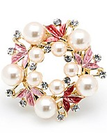 cheap -Women's Stylish Brooches - Imitation Pearl Leaf Fashion, Elegant Brooch Fuchsia For Formal / Date