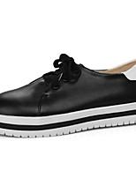 Недорогие -Жен. Обувь Полиуретан Весна лето Удобная обувь Кеды На плоской подошве Круглый носок Белый / Черный