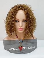 billiga -Syntetiska peruker Lockigt Blond Asymmetrisk frisyr Syntetiskt hår Dam / Till färgade kvinnor Blond Peruk Dam Mellanlängd Utan lock Blond