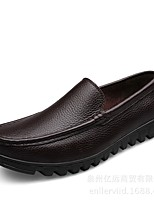 cheap -Men's Faux Leather Fall Comfort Loafers & Slip-Ons Black / Brown