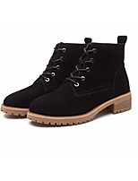 cheap -Women's Shoes Suede / Cowhide Fall & Winter Combat Boots / Fur Lining Boots Block Heel Round Toe Booties / Ankle Boots Black / Gray / Khaki