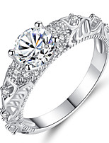 cheap -Women's Cubic Zirconia Layered Band Ring / Engagement Ring - Sterling Silver Vintage, Elegant 6 / 7 / 8 Silver For Wedding / Engagement / Ceremony