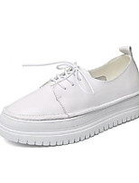 cheap -Women's Shoes Nappa Leather Spring / Fall Comfort Sneakers Flat Heel Round Toe White