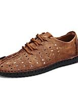 Недорогие -Муж. Наппа Leather / Кожа Весна лето Удобная обувь Кеды Черный / Темно-русый / Темно-коричневый