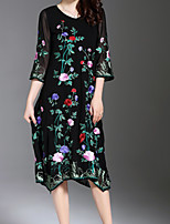 cheap -AINIER Women's Basic Swing Dress - Solid Colored / Floral