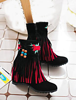 cheap -Women's Shoes Suede Fall & Winter Bootie Boots Heterotypic Heel Pointed Toe Booties / Ankle Boots Tassel Black / Beige / Red / Party & Evening