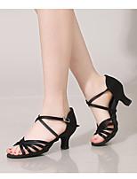 baratos -Mulheres Sapatos de Dança Latina Cetim Salto Salto Grosso Sapatos de Dança Preto / Marron