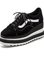 Недорогие -Жен. Обувь Наппа Leather Весна / Осень Удобная обувь Кеды Микропоры Круглый носок Черный