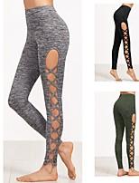 baratos -Mulheres Com Recortes Calças de Yoga - Preto, Verde Tropa, Cinzento Esportes Elastano Meia-calça / Leggings Corrida, Fitness Roupas Esportivas Respirabilidade, Confortável Com Stretch
