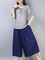 abordables -Mujer Activo Manga Farol Blusa - Un Color, Plisado Pantalón