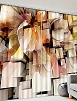 abordables -Rideaux 3D Chambre à coucher Géométrique Polyester Imprimé / Occultant