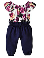 cheap -Kids Girls' Floral Short Sleeve Clothing Set