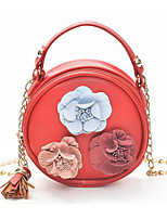 cheap -Women's Bags PU(Polyurethane) Shoulder Bag Appliques / Tassel Floral Print Blushing Pink / Yellow / Brown