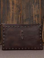 cheap -Men's Bags Cowhide Clutch Rivet Dark Blue / Brown / Dark Brown
