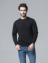 cheap -Men's Long Sleeve Sweatshirt - Solid Colored Round Neck