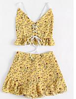 cheap -Women's Basic Tank Top - Geometric, Lace up / Print Skirt