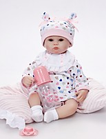 cheap -FeelWind Reborn Doll Baby Girl 16 inch lifelike, Hand Applied Eyelashes, Tipped and Sealed Nails Kid's Girls' Gift / Artificial Implantation Brown Eyes / Natural Skin Tone / Floppy Head