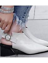 Недорогие -Жен. Обувь Наппа Leather Весна Удобная обувь / Туфли лодочки Обувь на каблуках На толстом каблуке Белый / Черный
