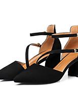 cheap -Women's Shoes Sheepskin Spring / Fall Comfort / Basic Pump Heels Chunky Heel Black / Almond